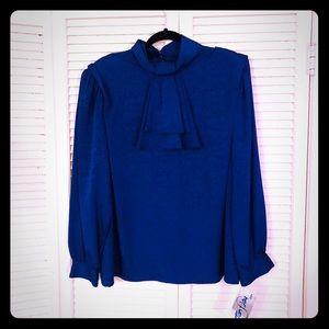 🌸NEW🌸NWT VTG royal blue Victorian brocade blouse